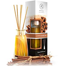 Diffusore di profumo per ambiente Cannella 100 ml, con 8 bastoncini di bambù, olio essenziale naturale, fragranze naturali intenso e duraturo, alcool 0%, profumo in camera per aromatizzare l'aria interiore per la camera, diffusori a lamella, diffusore a lamella di fragranza, la cucina, il bagno, la casa, l'ufficio, aromaterapia, ottimo per aromi naturali, rinfrescante, in vetro, da AROMATIKA