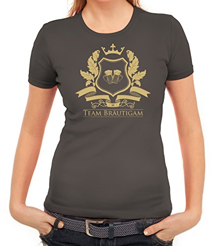 Junggesellenabschieds JGA Hochzeit Damen T-Shirt Wappen Team Bräutigam Dunkelgrau