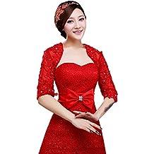 Jungen - Bolero para Mujer, novia, Chaqueta, chal para boda, de color rojo