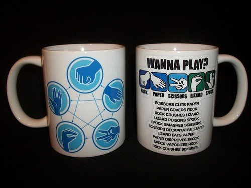 Rock, Paper, Scissors, Lizard, Spock Ceramic Mug by Staffordshire Pottery
