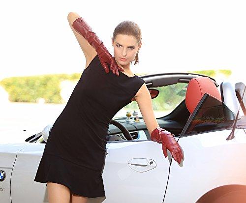 ELMA Gants longs de conduite pour Femme en Cuir Nappa - Logo plaqué Or Bourgogne