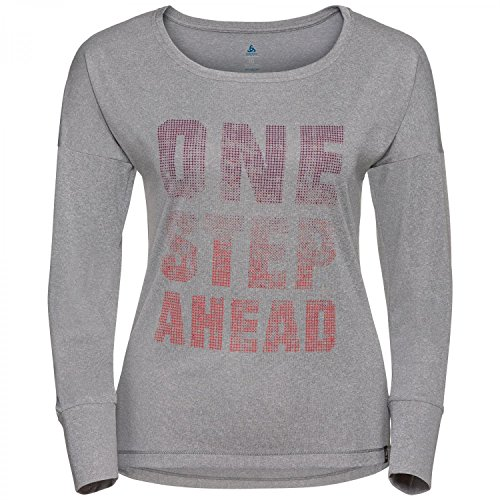 Odlo Damen L/S Helle T-Shirts grey melange with TRAIN print FW17