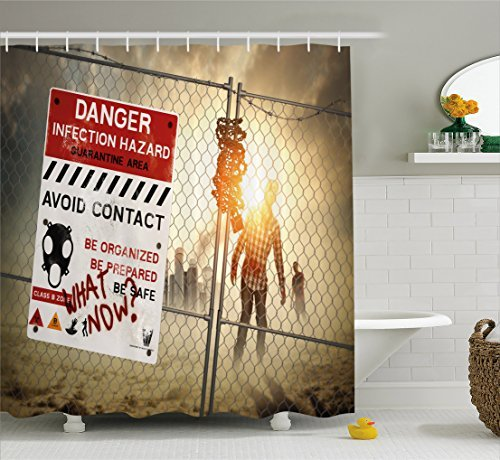 (Zombie Decor Vorhang für die Dusche von ambesonne, Dead Man Walking Dark Gefahr Scary Szene Fiction Halloween Infektionen Bild, Stoff Badezimmer Decor Set mit Haken, multicolor, Textil, Multi 1, 69W x 70L)