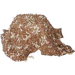 Filet de camouflage, filets de camouflage à mailles servant de cache pour la chasse et le tir, de parasol pour le camping, pour la décoration intérieure et les sport de plein air - pour le désert (3m x 3m)