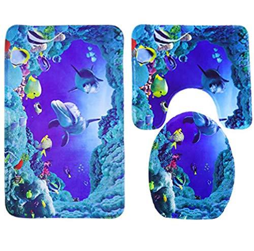 Badematte Set 3 teilig, Polyester Rutschfeste Badvorleger Bad teppiche WC-Vorleger Toilettensitz-Bezug Waschbär Bath Mat für Badezimmer, Radvorleger 49x78cm/U-förmige Rug 40x49cm/WC-Abdeckung 40x40cm