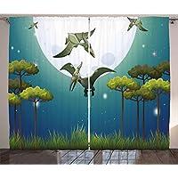 Dinosaurio cortinas por Ambesonne, estilo de dibujos animados dinosaurios volar sobre luna llena noche bosque