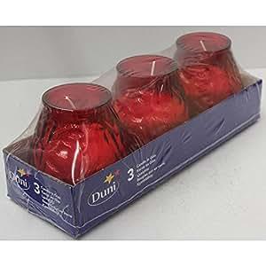 Duni Bougie Verres Aronda Venezia Rouge 100x 100mm Lot de 3., Bougie Photophore Rouge, Verre Rouge, décoration de table bougie photophore rouge, verre rouge intérieur rouge, Bougie Verre extérieur