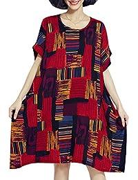 ELLAZHU Femme Été Grande Taille Impression Sleeves Courtes Robe