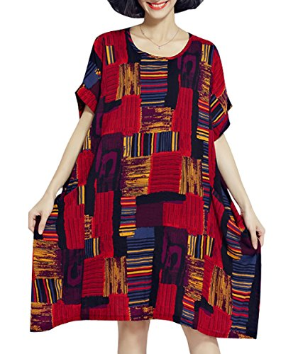 ellazhu Femme Été Large Grande Taille Plaid T-Shirt Robe GA622 Red