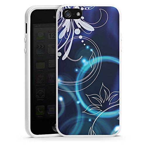 Apple iPhone 4 Housse Étui Silicone Coque Protection Ornements Fleurs Fleurs Housse en silicone blanc