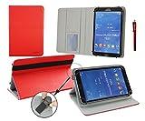 Emartbuy® Sunstech TAB717 Dual 7 Pulgada Tablet Universal ( 7 - 8 Pulgada ) Rojo Premium Cuero PU Ángulo Múltiples Executive Folio Carcasa Wallet Case Grey Con Tarjeta de Slots Interior + Rojo Lápiz Óptico