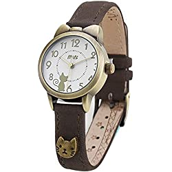 Fq-234 Brown Leather Strap Bowknot Kitty Design Students Girls Woman Quartz Wrist Watches