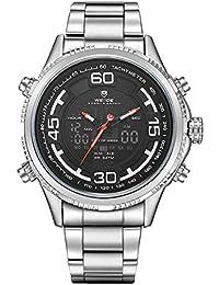 Alienwork Reloj LCD Analógico-Digital sport relojes hombre Multi-función XXL Oversized Metal negro plata WD.WH-6306G-01