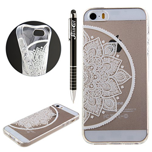 iPhone 4S Hülle, iPhone 4 Hülle, iPhone 4 / 4S Silikon Crystal Case Hülle mit Malerei Muster, SainCat Weiche Transparent Silikon Schutzhülle Hülle Gel Bumper Soft TPU Case Backcase Weiches Crystal Cle Die Hälfte Blume