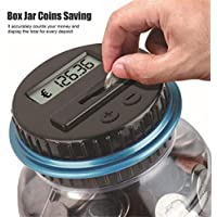 happy event LCD Digital Coin Bank Savings Jar – Automatic Coin Counter Totals All GBP/EUR Coins Original Style, Clear Jar EUR Noir