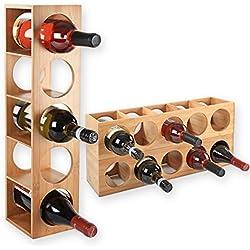 Gräfenstayn® 30543 casier à vin CUBE - empilable en bois de bambou pour 5 bouteilles de vin pour placer, placement ou pour montage mural, extensible, Taille 13,5x12x53 cm (LxPxH) Porte-bouteille de vin casier à bouteilles