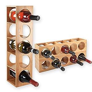 Gräfenstayn® Weinregal CUBE – stapelbar aus Bambus-Holz für 5 Wein-Flaschen zum Stellen, Legen, Wand-Montage, erweiterbar, Größe 13,5x12x53 cm (LxBxH) Weinflaschenhalter Weinkiste Flaschenregal