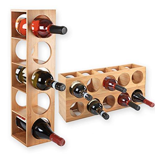 *Gräfenstayn® Weinregal CUBE – stapelbar aus Bambus-Holz für 5 Wein-Flaschen zum Stellen, Legen, Wand-Montage, erweiterbar, Größe 13,5x12x53 cm (LxBxH) Weinflaschenhalter Weinkiste Flaschenregal*