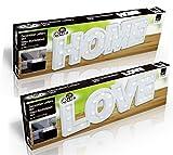 LED Dekobuchstaben HOME LOVE 3D Deko Schriftzug Buchstaben Holz Weiß Batteriebetrieben (HOME)