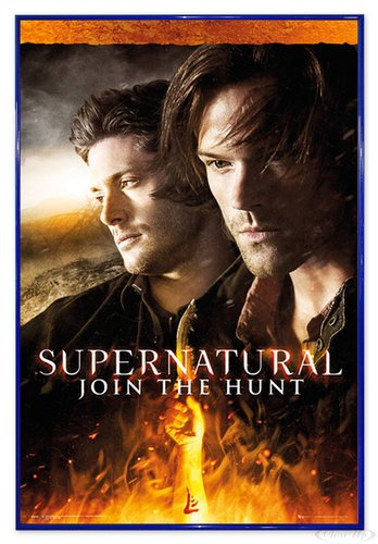 Close Up Supernatural Poster Fire (94x63,5 cm) gerahmt in: Rahmen blau