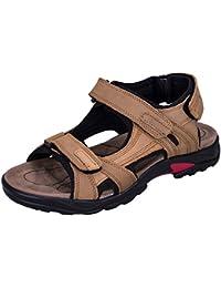 WhiFan Zapatos De Playa Para Hombres de Cuero Ocasionales Cierre la Correa del Dedo del Pie Sandalias Deportivas Sandalia de Transpirable