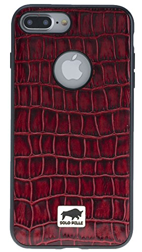 Solo Pelle iPhone 7 Plus / 8 Plus abnehmbare Lederhülle (2in1) inkl. Kartenfächer für das original iPhone 7 Plus / 8 Plus ( Vintage Lila ) inkl. Edler Geschenkverpackung Kroko-Rot