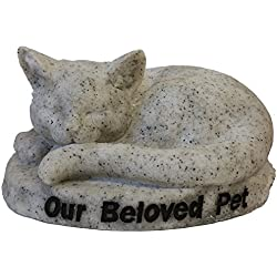 "Vivid Arts Ltd - Figura decorativa de estela de gato dormido con texto ""Our Beloved Pet"", color gris"