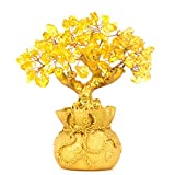 BWINKA Feng Shui Naturel Citrine Gem Stone Money Tree Office Bureau de la table à domicile pour la chance de richesse, meilleur cadeau...