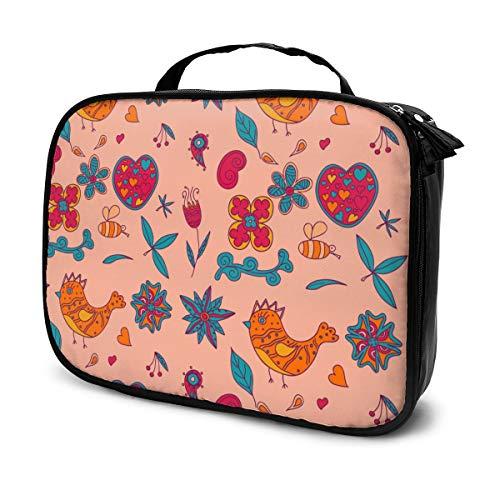 Blumen und Vögel Reisen Make-up Kosmetiktasche, tragbare Bürsten Fall Kulturbeutel Travel Kit Organizer Kosmetiktasche