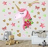 Licorne Stickers Muraux Licorne Autocollant Stickers pour Chambre Bébé Chambre Enfant Chambre Pépinière des Filles de Décoration (Rose)
