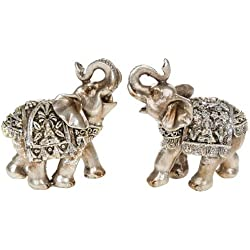 Pair Of Silver Buddha Mini Elephants 6.5 Cm 2.5""