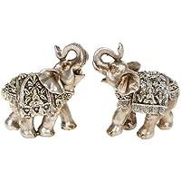 "Pair Of Silver Buddha Mini Elephants 6.5 Cm 2.5"""