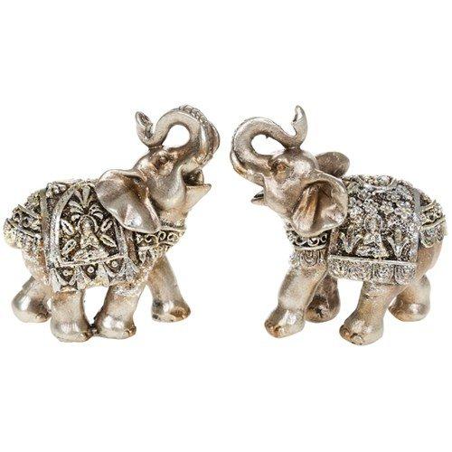 Pair Of Silver Buddha Mini Elephants 6.5 Cm 2.5