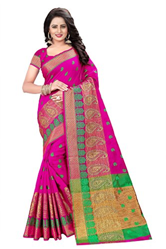 Nine Street Store Cotton Silk Saree With Blouse Piece (Kri Series_Pink_Free Size)