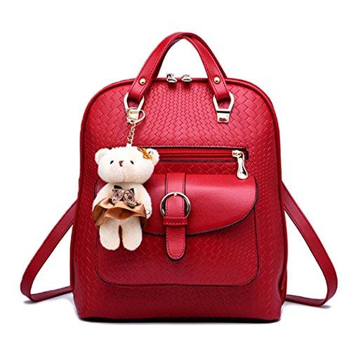 Il sacchetto di spalla dello zaino della scuola dello scamosciato della scuola del cuoio del Faux della ragazza delle donne di modo sceglie il grano e l'orso bello Rosso