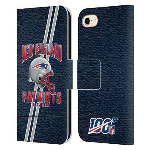 Head Case Designs Offizielle NFL Football Streifen 100ste 2019/20 New England Patriots Leder Brieftaschen Huelle kompatibel mit iPhone 7 / iPhone 8