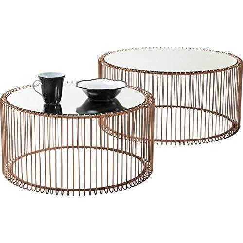Couchtisch Wire Copper 2er Set, Kupfer, runder, moderner Glastisch, großer Beistelltisch, Kaffeetisch, Nachttisch, (H/B/T) 30,5xØ60cm & 33,5xØ69,5cm