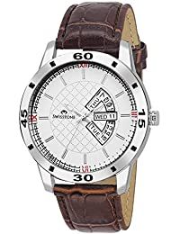 Swisstone WT315-WT Day And Date Display Brown Leather Strap Wrist Watch For Men