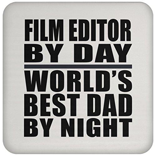 (Film Editor By Day Worlds Best Dad By Night - Drink Coaster Untersetzer Rutschfest Rückseite aus Kork - Geschenk zum Geburtstag Jahrestag Muttertag Vatertag Ostern)