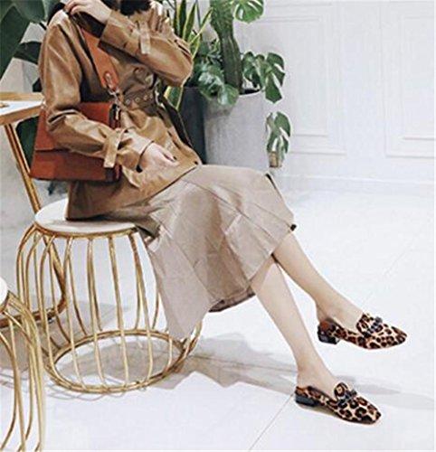 Scarpe da donna Crine di cavallo Fibbia di metallo mocassini Ballerina piatta Formato 35To41 Leopard