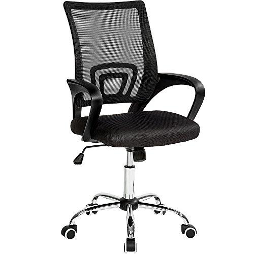 TecTake Bürostuhl Drehstuhl Schreibtischstuhl mit Lordosenstütze und Armlehnen - Diverse Farben - (Schwarz | Nr. 401789)