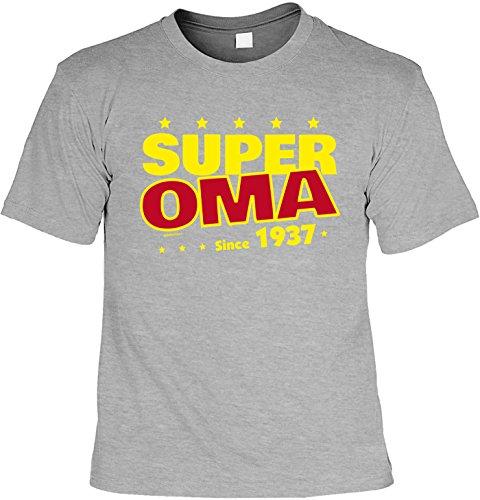 T-Shirt zum Geburtstag: Super Oma since 1937 - Tolle Geschenkidee - Baujahr 1937 - Farbe: dunkelgrau Dunkelgrau