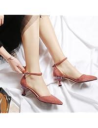 Jqdyl Tacones Zapatos de mujer Consejos Tacones de aguja Piedras del Strass Sandalias, Calabaza de color, 36