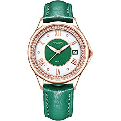 Comtex Women's Watch with Red Leather Strap Rose Gold Case Water Resistant