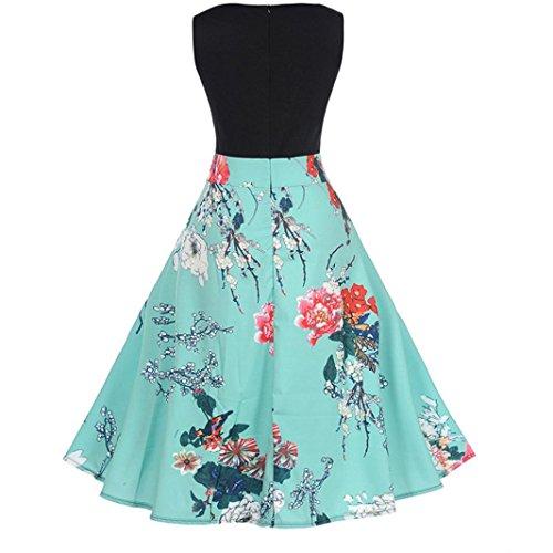 Lenfesh Vestido Pin up de Sin Mangas Round Collar con Lazo Verano Vestido Trapecio De Floral Rose Rockabilly (2XL, Azul)
