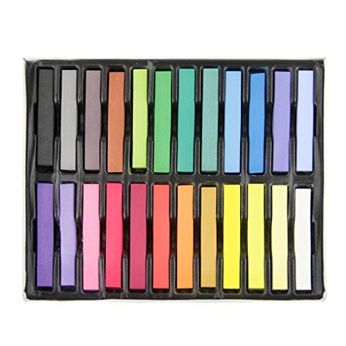 24 Couleurs Coloration Teinture Crayon Coiffure Craie de Cheveux Pastel Jetable Craies Colorantes Bricolage Peinture Temporaire des Cheveux Sécurité Non-toxique Mode Craies de Couleurs
