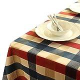 Seepong Tischdecke 100% Baumwolle Schmutzabweisend und Wasserabweisend Kariert Tischwäsche Rechteckig Abwaschbar Abendessen Picknick Tischtuch 140x200cm