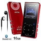 AGPTEK MP3 Bluetooth 16Go Haut-Parleur Sport, Boutons Tactiles Lecteur Musical en Métal Bouton de Volume Indépendant, Baladeur MP4 avec Podomètre, Radio, Enregistrement, Carte SD jus'qu à 128Go-Rouge