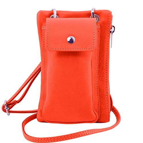 Tuscany Leather TL Bag - Tracollina Portacellulare in pelle morbida Nero Borse uomo in pelle Corallo