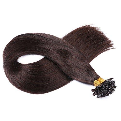 Keratin Bonding Hair Extensions 100% Remy Echthaar Haarverlängerung (#2 - DUNKELBRAUN - 50 Strähnen 1 g - 50 cm) U-Tip Extention Remy Qualität by Haar-Profi